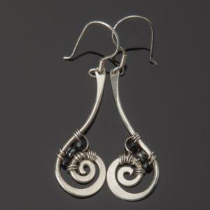 silver onyx earring