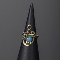 brass blue quartz ring